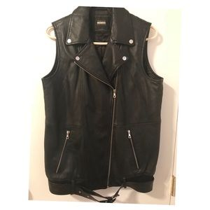 Women's Zara TRF Leather Biker Vest